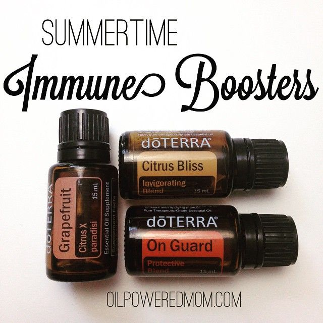 While OnGuard is my go-to for boosting our immune systems, it just seems more like a Christmas/winter smell. I am loving mixing Grapefruit and Citrus Bliss with the tiniest bit of OnGuard in a diffuser for a summer twist  I do: 3 drops Citrus Bliss 2 drops Grapefruit 1 drop OnGuard  Enjoy! http://www.mydoterra.com/emilykoehler/#/