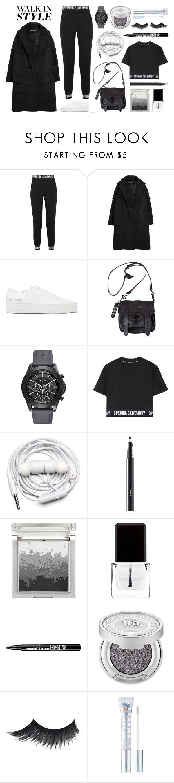 """Walk in Style"" by cherieaustin ❤ liked on Polyvore featuring Opening Ceremony, Tom Ford, Common Projects, Proenza Schouler, Armani Exchange, Urbanears, MAC Cosmetics, Sue Devitt, Context and Bourjois"