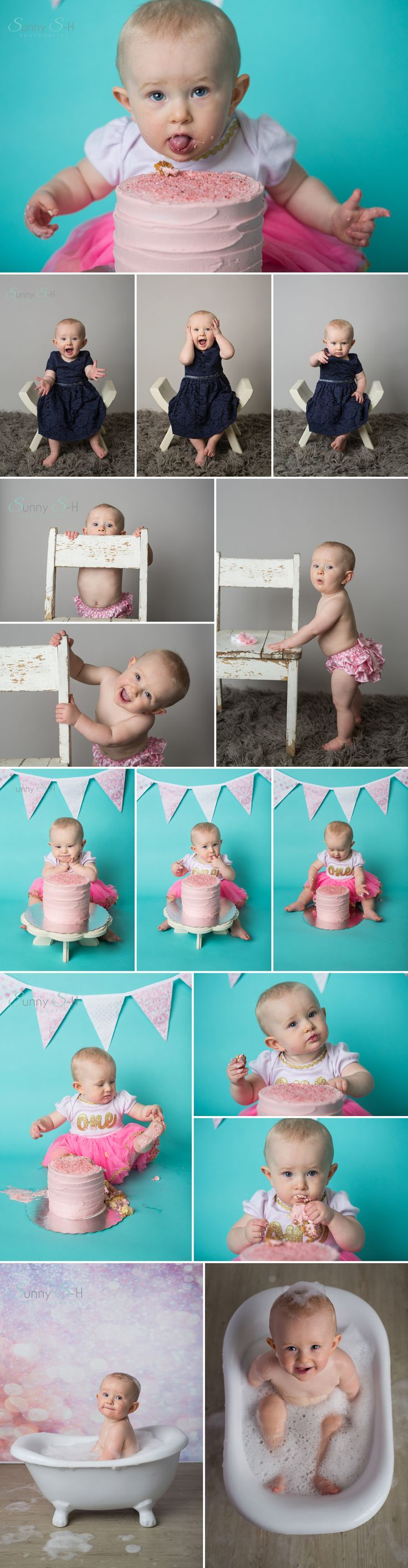 One year old Maddy and her super expressive first birthday studio cake smash session.  She makes the cutest faces.