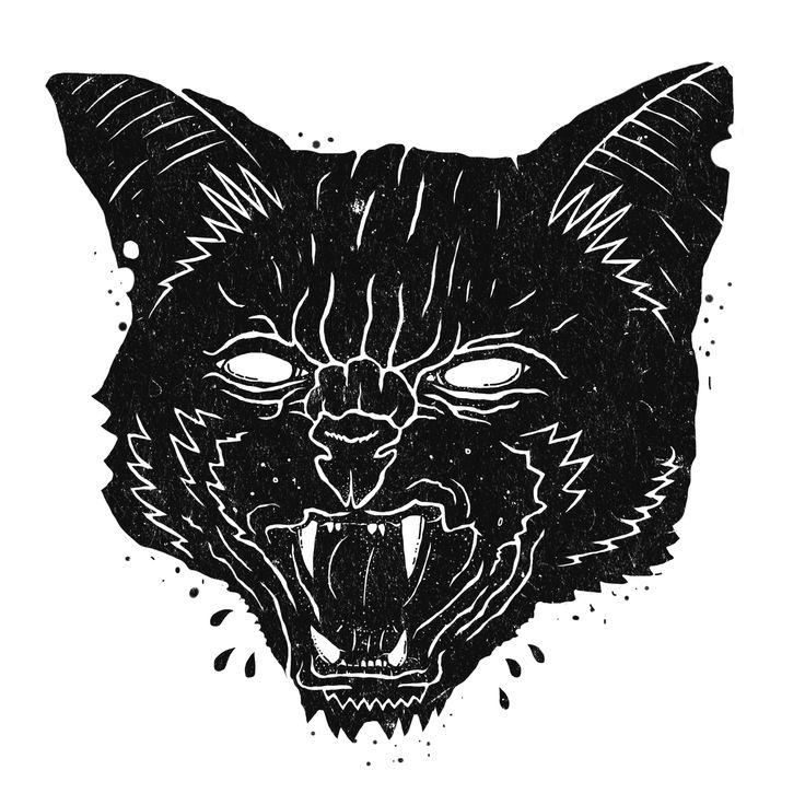 Wheat paste poster illustration of a cat.  #cat #logo #vintage