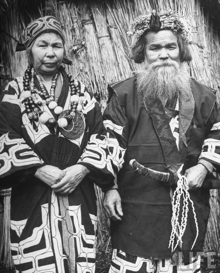 Ainu village chief and his wife, Shiraoi, 1946 by Alfred Eisenstaedt