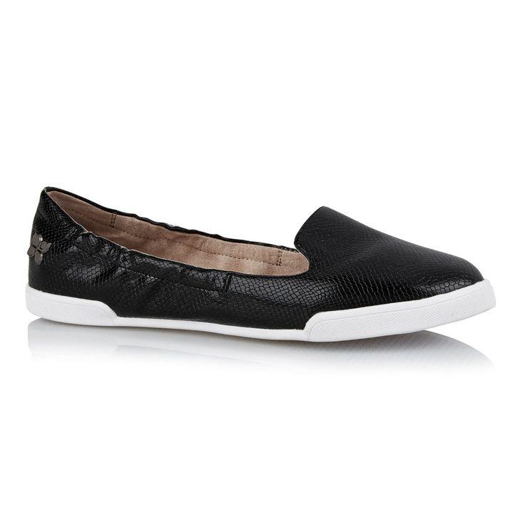 Butterfly Twists black snake loafer shoe.