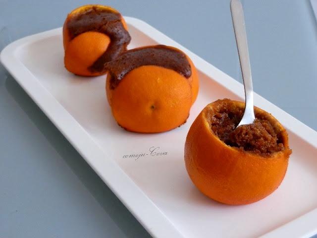 Bizcocho de Canela Sin Huevo en Cáscara de Naranja / Cinnamon Eggless Cake Baked Inside An Orange Peel