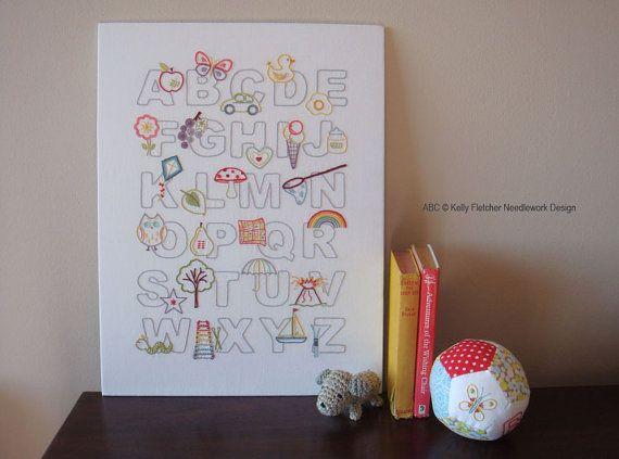 ABC modern alphabet hand embroidery pattern by KFNeedleworkDesign