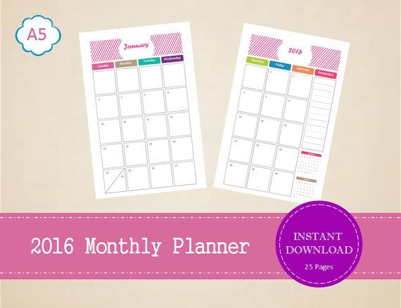 A5 Printable 2016 Half Page Monthly Planner  by MBucherConsulting