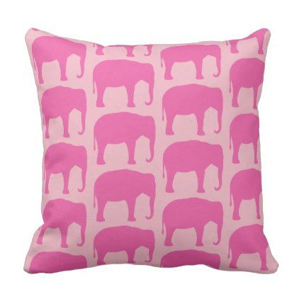 Pink Elephant Silhouettes Pattern Throw Pillow - decor gifts diy home & living cyo giftidea