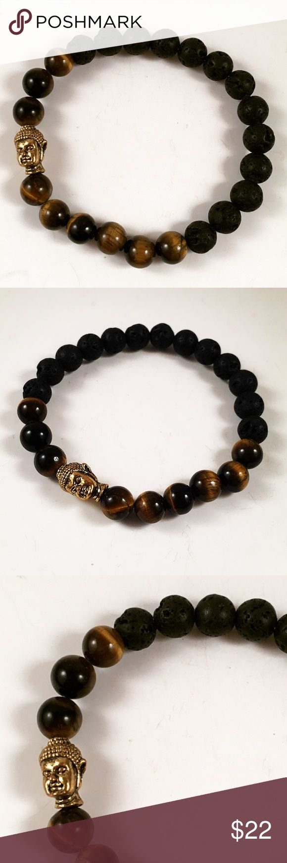 Beaded Men lava rock and tiger eye buddha bracelet Men beaded bracelet. Fits most , 7.5 to 8.5 inch wrist. Handmade by me . Never worn by anyone. Made with golden tiger eye and Lava rock. Gold color Buddha charm . I ship fast!!✈️ Free gift with every purchase!! Accessories Jewelry