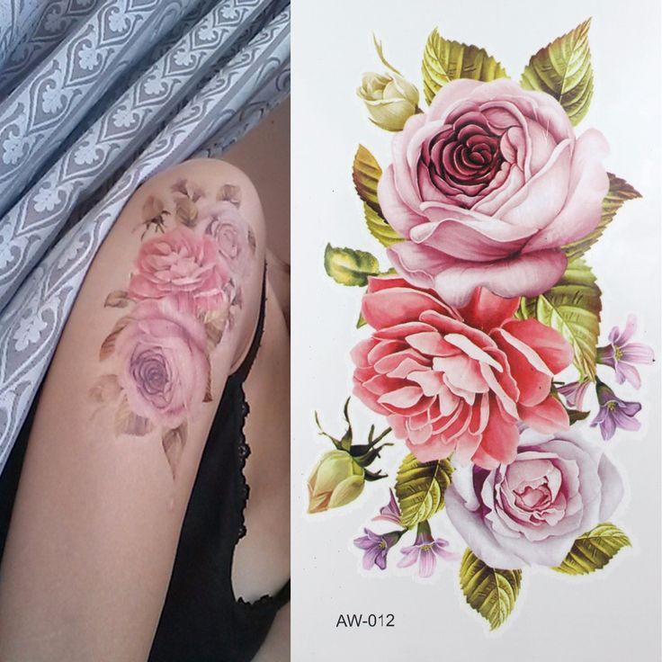 Narbe DIY Temporäre Tätowierung Blumen ROSE TATTOO 3D Dazzle farbe Taty Wasserdicht Körper Kunst Tatto Hitzewallungen Temporäre Tattoos(China (Mainland))