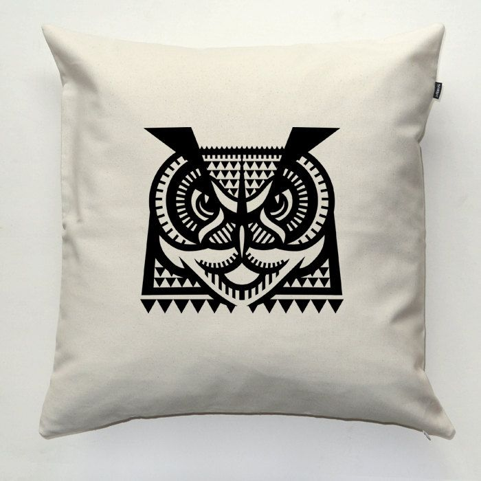 Owl Decorative pillow cover, pillowcase, gift, cushion case, decorative throw pillow, sofa ecru pillow by PSIAKREW on Etsy