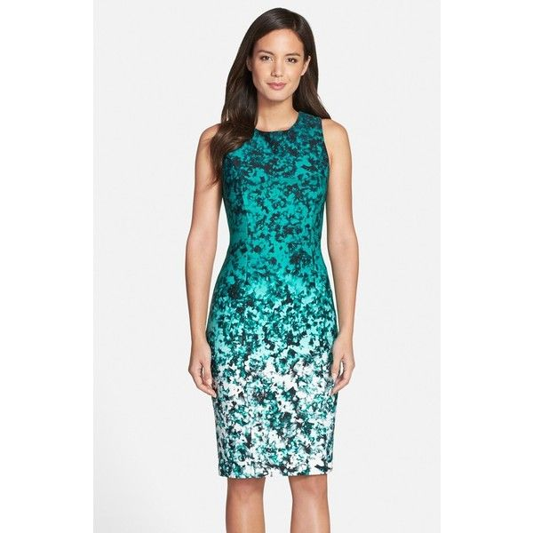 Petite Vince Camuto Ombre Floral Print Sleeveless Sheath Dress (8,460 INR) ❤ liked on Polyvore featuring dresses, green, petite, sleeveless sheath dress, petite sheath dress, petite shift dress, petite dresses and floral print dress