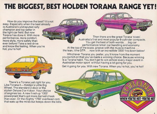 Vintage car advert  - Holden - Torana    http://www.flickr.com/groups/16024233@N00/pool/