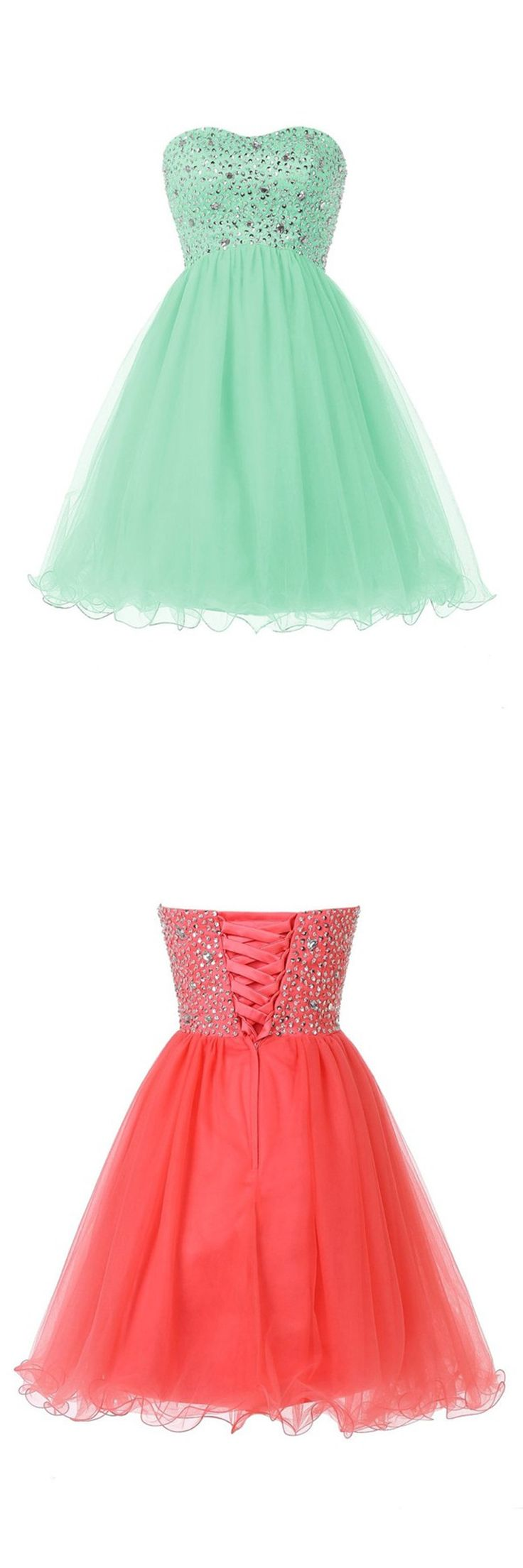 2016 homecoming dress,strapless homecoming dress,short homecoming dress,cute homecoming dress,mint homecoming dress,coral homecoming dress,lace up homecoming dress,sparkling homecoming dress,mini cocktail dress