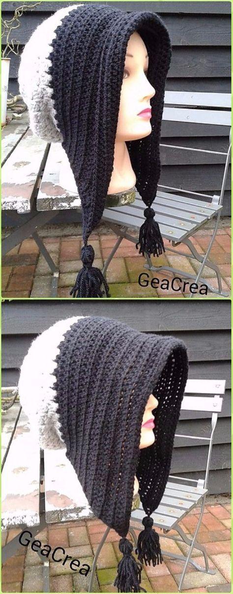 Crochet Winter Bonnet Hat with Tassels Free Pattern - Crochet Ear Flap Hat Free Patterns