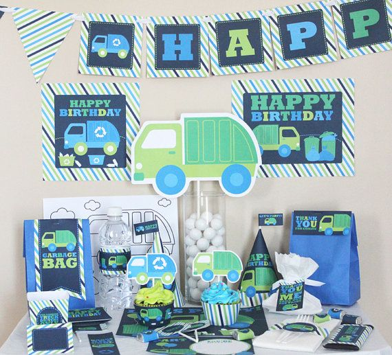 Garbage Truck Birthday Decorations - Recycle Truck - DIY Printable - Party Kit - Instant Download - Garbage Truck