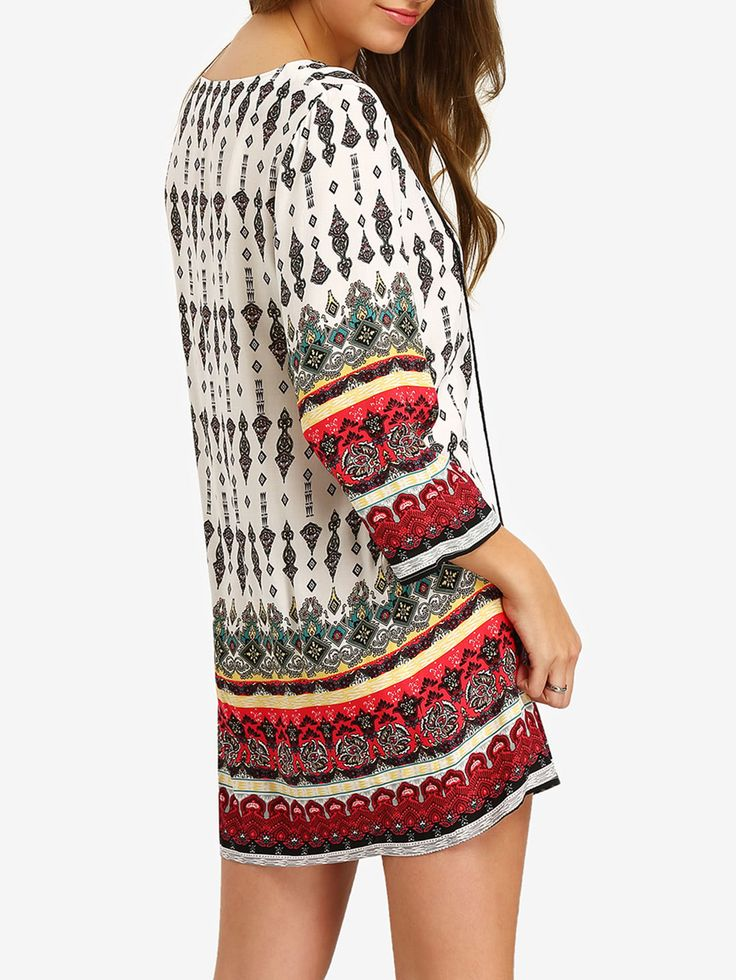 Shop Tassel Tie Neck Tribal Print Dress online. SheIn offers Tassel Tie Neck Tribal Print Dress & more to fit your fashionable needs.
