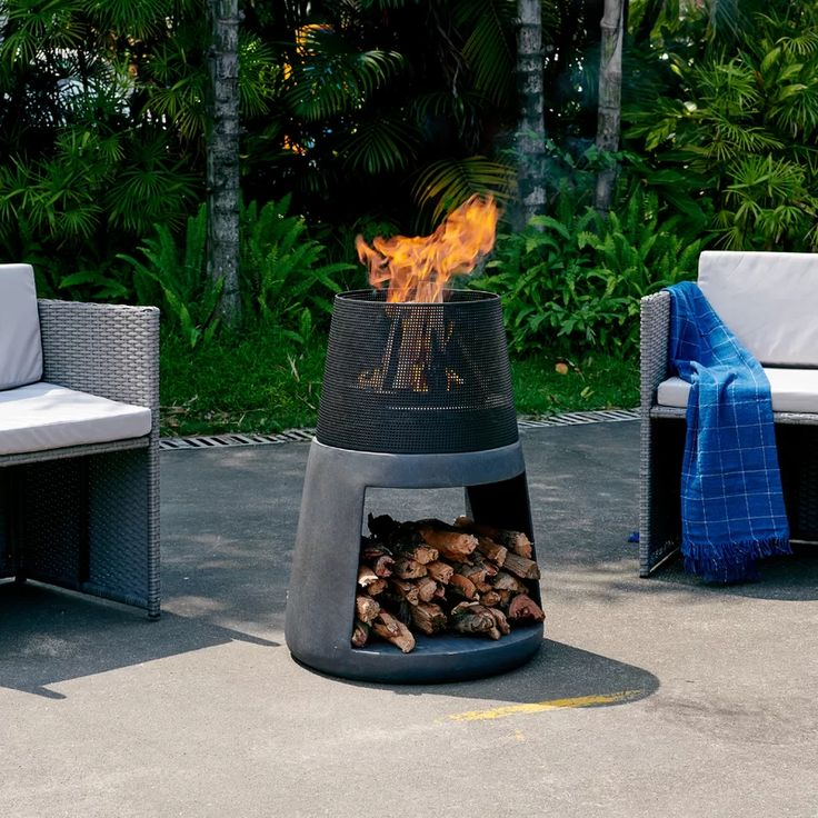 Daponte Outdoor Polyresin Wood Burning Fire Pit in 2020