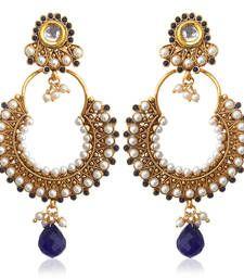 Buy Kundan deep blue pearl bali hoop earring,Ethnic Indian Bollywood Jewelry c467b hoop online