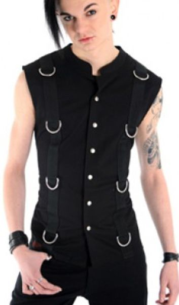 Sleeveless vest made from cotton drill & featuring large silver d-rings on sewn down strapping on the front from shoulder to hem & on the back.
