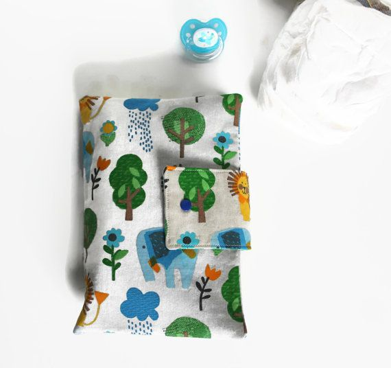 Nappy wallet elephants and lions diaper purse baby by Sunchildsews