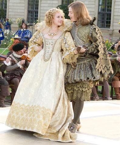 Juno Temple as Queen Anne  and Freddie Fox as King Louis XIII in 'The Three Musketeers' (2011). Costume design by Pierre-Yves Gayraud	.