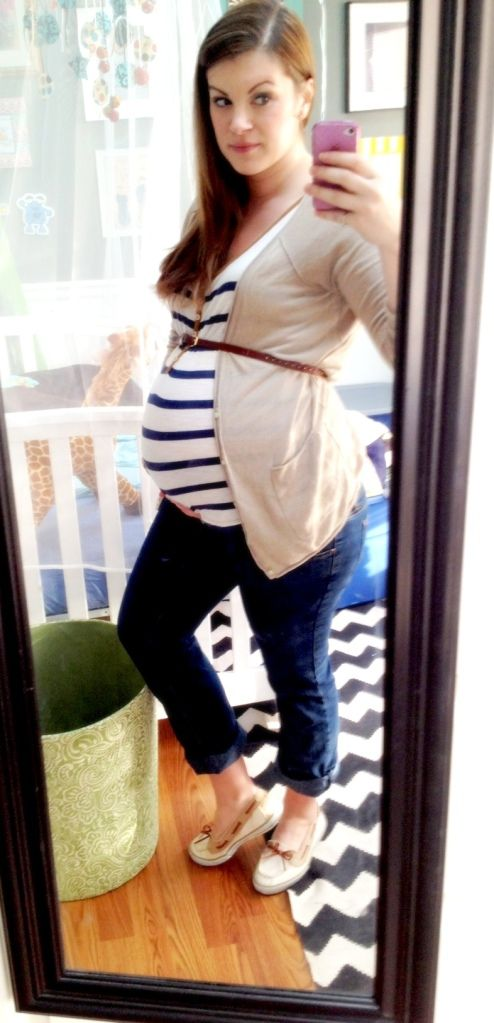 Maternity fashion: I love using cardigans and blazers to separate my belly from the rest of the body so can visualize the difference between my regular body and my baby body.. (Makes it obvious that without the baby in there I'd be smaller.)