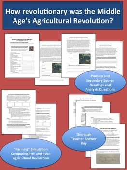 """After completing an engaging """"farming"""" simulation, students will NEVER forget the 3 Field System and other aspects of the Middle Age's Agricultural Revolution! Primary and secondary sources help students learn about the technological innovations of the Agricultural Revolution and its social, economic, and demographic effects."""