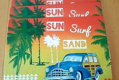 Sun Surf Sand Beach Woody Vinyl Placemats Set of 4 Coastal Art