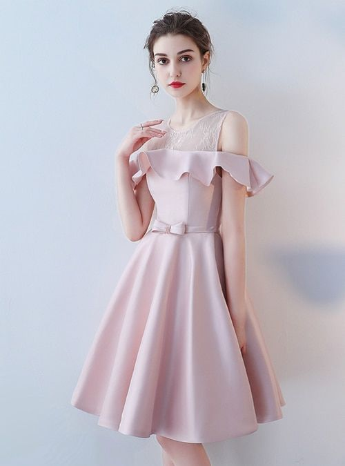 9b3dc3b3d74 Silhouette a-line Hemline knee length Neckline scoop Fabric satin Sleeve  Style sleeveless Color pink Back Style lace up Embellishment sash bow
