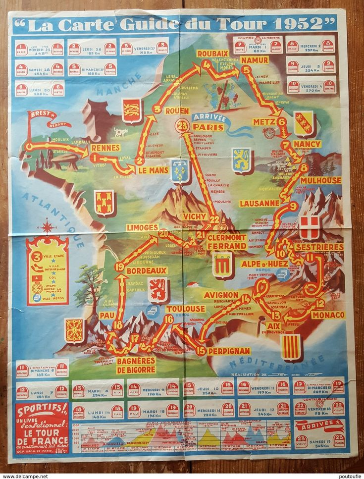 Carte Guide Programme TOUR DE FRANCE 1952 - Cycling