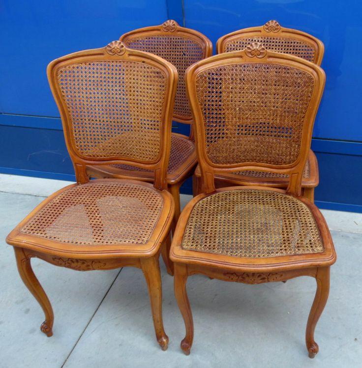 4 sedie in ciliegio massello e paglia di vienna provenzali for Sedie fenice design