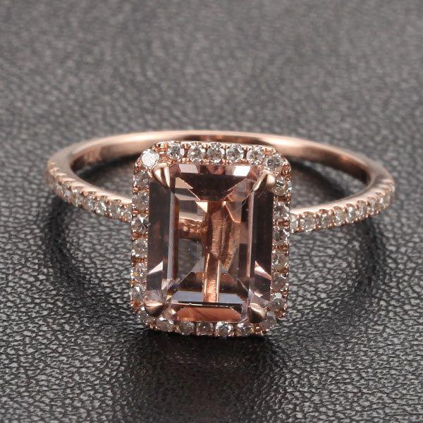 Emerald Cut 14k Rose Gold Morganit Ring & Diamond Halo von TheLOGR, $315,00 – Isa Sternchen