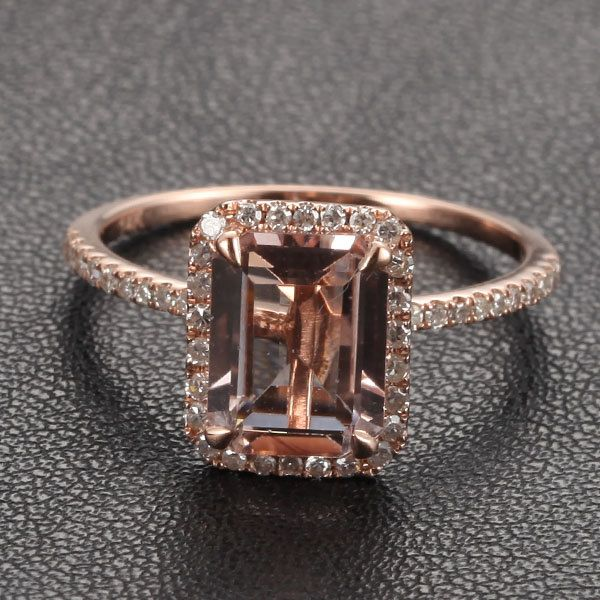 morganite with diamonds engagement ring in 14k gold