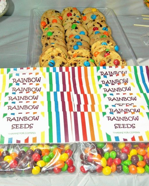 Cookies and candy at a Rainbow Birthday Party!  See more party ideas at CatchMyParty.com!