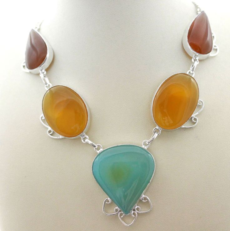 AWESOME COLORFUL ONYX GEMSTONE JEWELRY FOR HER 925STERLING SILVER NECKLACE S0282 #925silverpalace #Charm