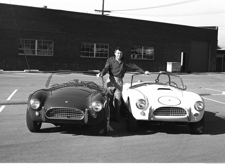 "THE SNAKE & THE STALLION | HOW SHELBY KICKED FERRARI'S ASS « The Selvedge Yard  Carroll Shelby poses with his new 1964 production Cobra and his new Cobra race car-- Venice, California. ""It's a massive motor in a tiny, lightweight car."" --Shelby explaining in a nutshell, the secret to the Cobra's performance."