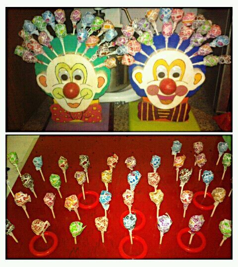 Pick a sucker clown game & ring toss game we made for the carnival party! :)