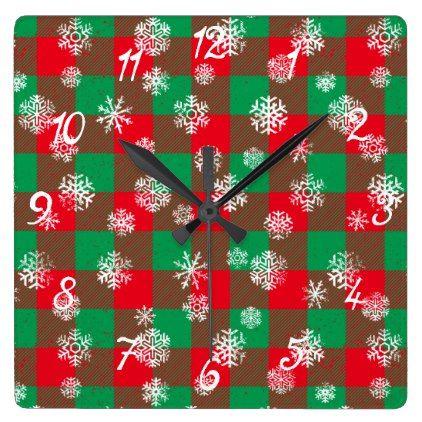 Snowflake Buffalo Plaid Christmas Square Wall Clock - Xmas ChristmasEve Christmas Eve Christmas merry xmas family kids gifts holidays Santa