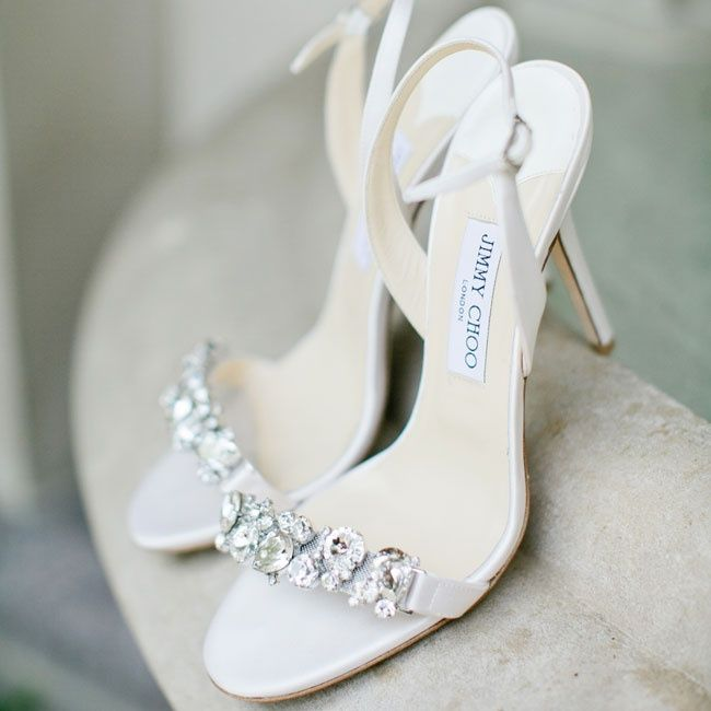 Jimmy Choo crystal-embellished bridal heels | Photographer: Kristyn Hogan
