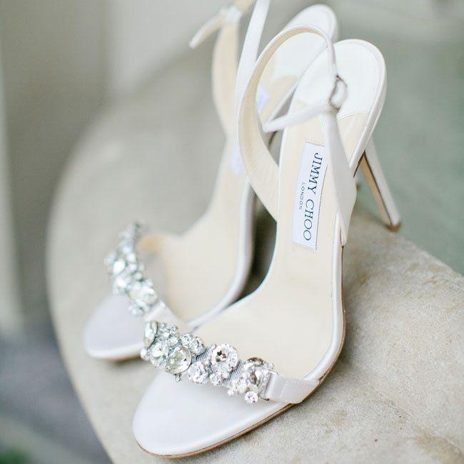 Jimmy Choo crystal-embellished bridal heels | Photographer: Kristyn Hogan