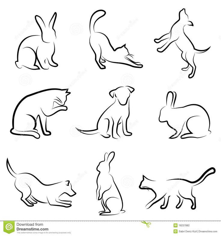 Dog, cat, rabbit animal drawing