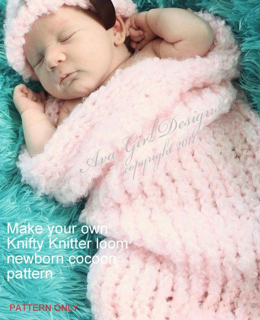 Knifty knitter loom newborn cocoon pattern by AvaGirlDesigns
