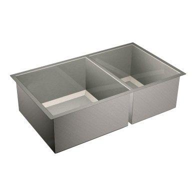 """1600 Series 34""""x20"""" stainless steel 16 gauge double bowl sink -- G16221 -- Moen"""