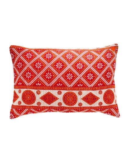 Kantha Rectangular Pillow in Red - Pillows & Throws - Living Room - Rooms