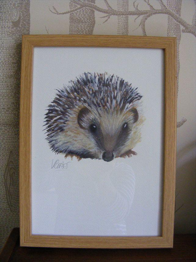 Hedgehog A4 Watercolour Print Framed