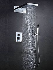 Wall Mounted 304 Stainless Steel Chrome With Rainfall And Waterfall Thermostatic Top Spray Shower Sets – USD $ 443.69