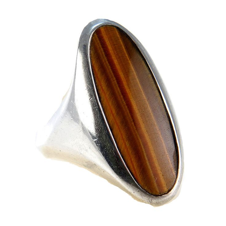 Sculptural Tiger Eye Sterling Silver North South Ring #vbantiquejewelry