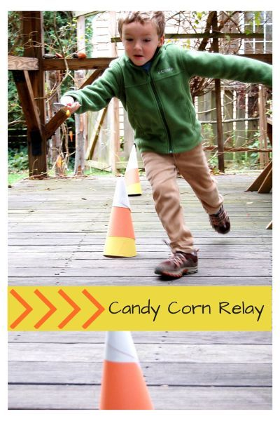 There is nothing more fun than a relay race for kids and this gross motor game uses the ever popular candy corn candies as a motivating factor.  Get your kiddos up and moving and working on those child developmental skills with this fun relay race.