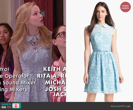 Liv's blue lace collared dress on Liv and Maddie.  Outfit Details: http://wornontv.net/41079/ #LivandMaddie