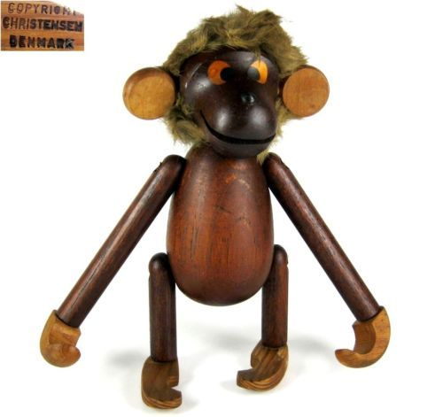 Christensen Holz Figur Affe / Klammeraffe Teak Denmark 60er Jahre Design Monkey