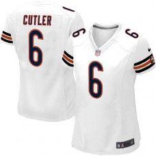 Womens Nike Chicago Bears #6 Jay Cutler Elite White Jersey$109.99
